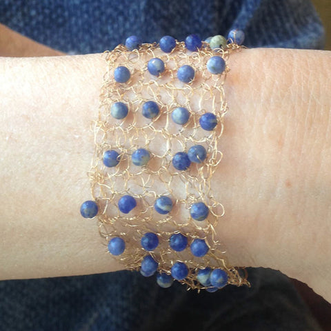 Hand-crocheted Goldtone Wire Bracelet with Sodalite Semi-Precious Stones