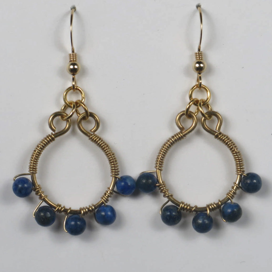Hoop Earrings Wire-Wrapped with Gemstone Beads