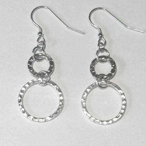 Hammered, Double Hoop Earrings