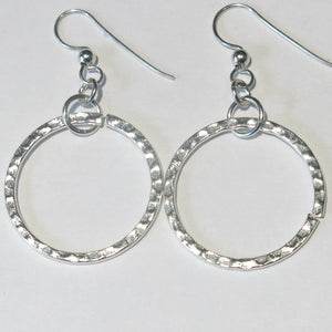 Hammered Metal Large Round Hoop Earrings