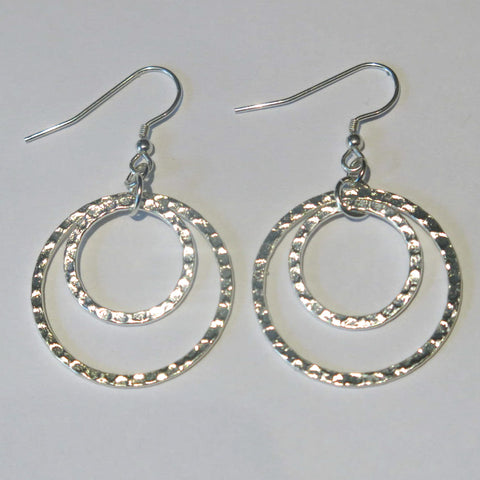 Hammered Double Hoop Earrings, Layered