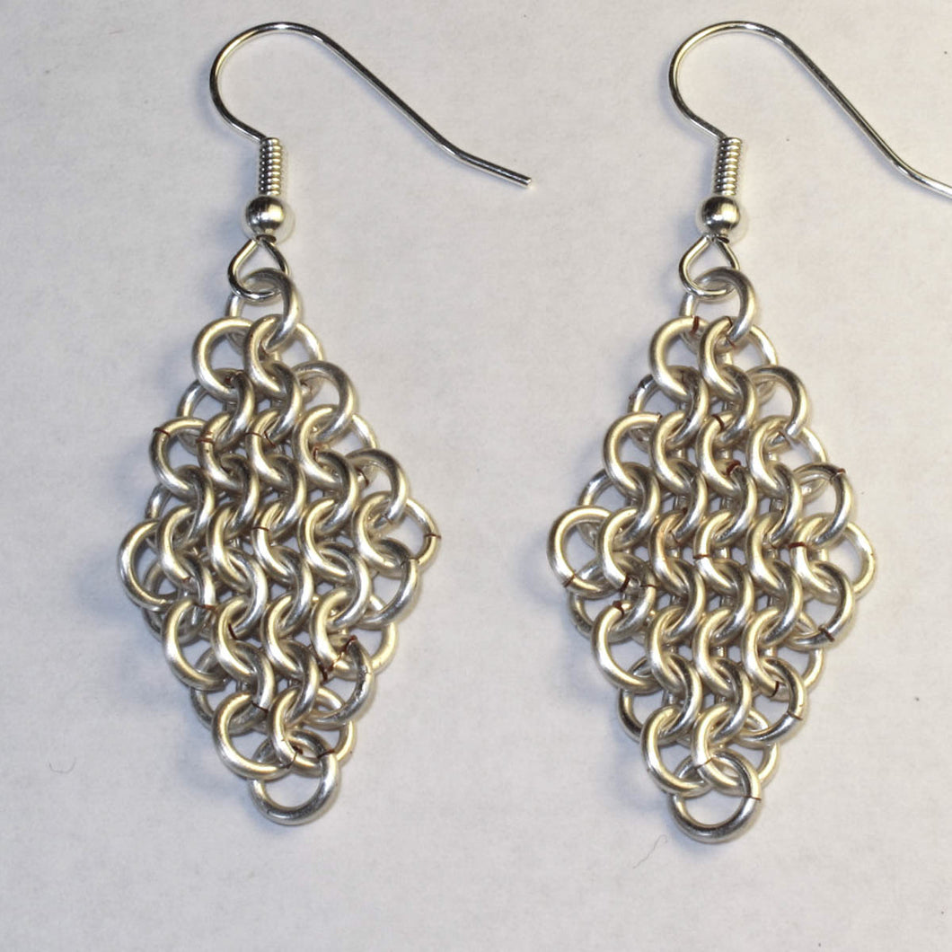 Large Diamond Chain Maille Earrings
