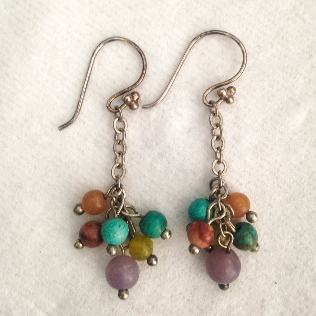 Gemstone Balloon Earrings with chain