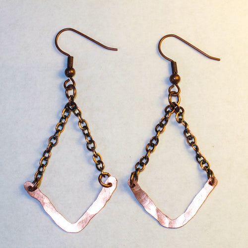 Hammered V-Shaped Wire Earrings with chain