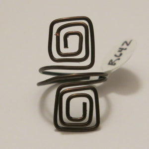 Double Squares Adjustable Wire Ring