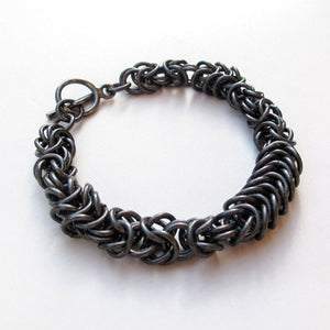 Chain Maille Bracelet in Byzantine Weave, 2-Tone