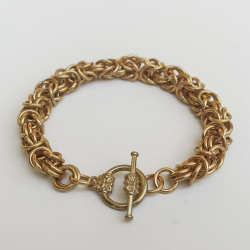 Chain Maille Bracelet in Byzantine Weave, Heavy Weight