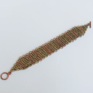 Chain Maille Bracelet in Slinky European 4-in-1 Weave, with Toggle Clasp