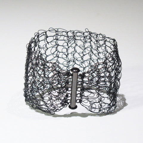 Hand-Crocheted Black Wire Bracelet with Slide-Lock Clasp