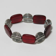 Load image into Gallery viewer, Stretchy Bracelet with Red Horn and Pewter Beads