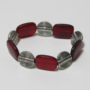 Stretchy Bracelet with Red Horn and Pewter Beads
