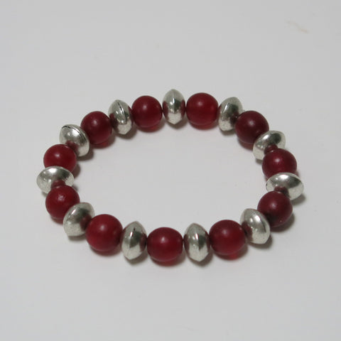 Stretchy Bracelet with Red Gemstone & Smooth Pewter Beads