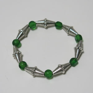 Stretchy Bracelet with Green Glass & Pewter Beads