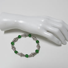 Load image into Gallery viewer, Stretchy Bracelet with Green Glass & Pewter Beads