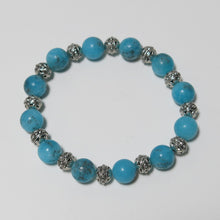 Load image into Gallery viewer, Stretchy Bracelet with Turquoise Magnesite & Pewter Beads