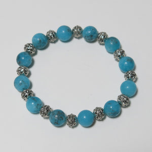 Stretchy Bracelet with Turquoise Magnesite & Pewter Beads