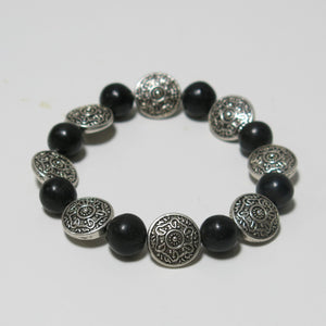 Stretchy Bracelet with Black Onyx Gemstone & Pewter Beads