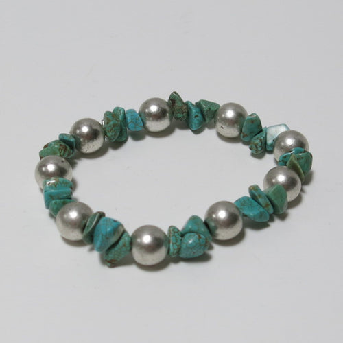 Stretchy Bracelet with Turquoise Magnesite Chips & Pewter Beads