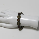 Stretchy Bracelet with Brown Buri Nut & Antique Brass Pewter Beads