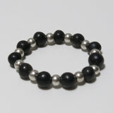 Stretchy Bracelet with Black Gemstone & Pewter Beads