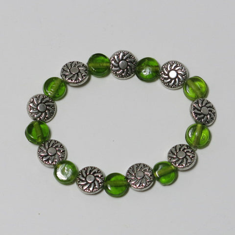 Stretchy Bracelet with Green Glass Coin Beads & Pewter Beads