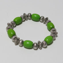 Load image into Gallery viewer, Stretchy Bracelet with Green Magnesite & Pewter Beads