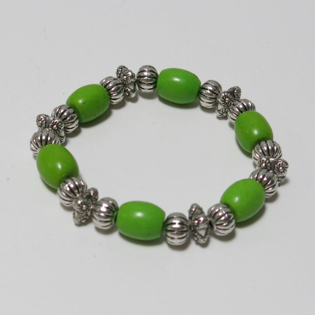 Stretchy Bracelet with Green Magnesite & Pewter Beads
