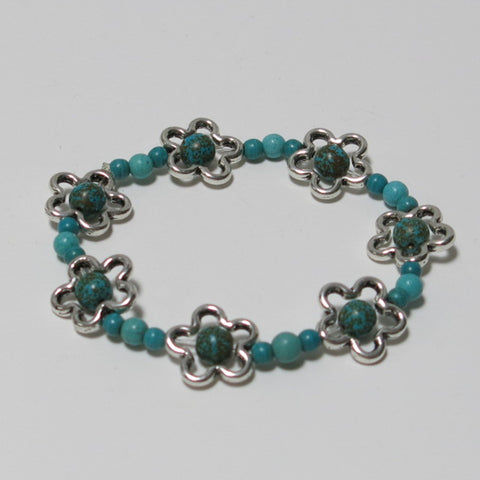Stretchy Bracelet with Turquoise Magnesite Gemstones and Pewter Flower Beads