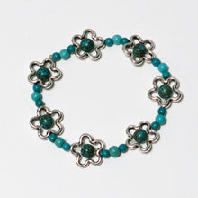 Load image into Gallery viewer, Stretchy Bracelet with Turquoise Magnesite Gemstones and Pewter Flower Beads
