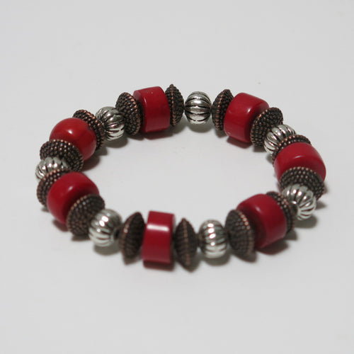 Stretchy Bracelet with Red Coral & Mixed Colors Pewter Beads