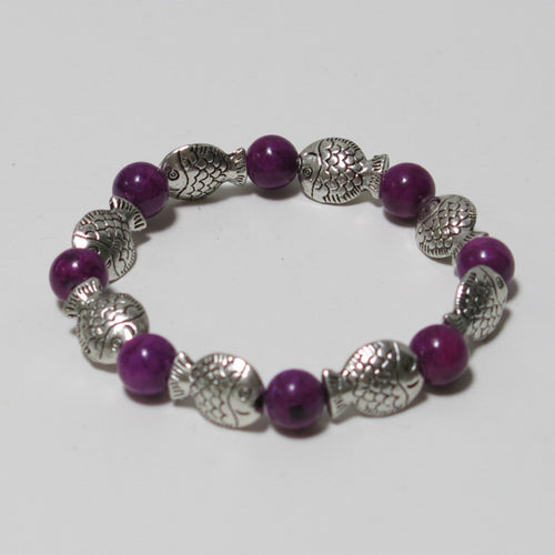 Stretchy Bracelet with Purple Gemstone & Pewter Fish Beads