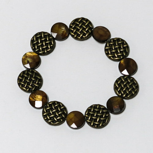 Stretchy Bracelet with Brown Mother-of-Pearl and Antique Brass Pewter Beads