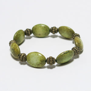 Stretchy Bracelet with Olive Green Gemstone & Antique Brass Pewter Beads