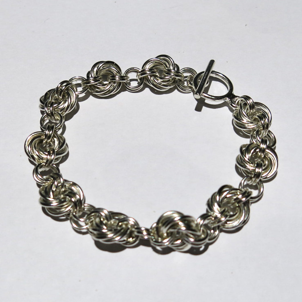 Chain Maille Bracelet in Mobius Flower Weave
