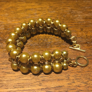 Chain Maille Bracelet in Japanese 8-in-2 Weave with Glass Pearls