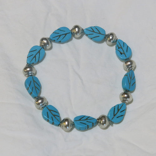 Stretchy Bracelet with Turquoise Magnesite Leaf Beads & Pewter Beads