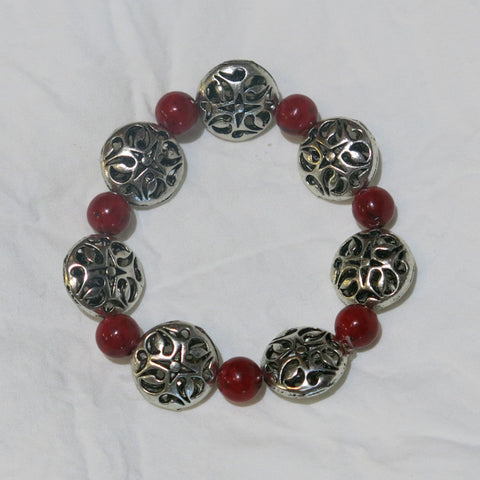 Stretchy Bracelet with Red Gemstone & Pewter Beads
