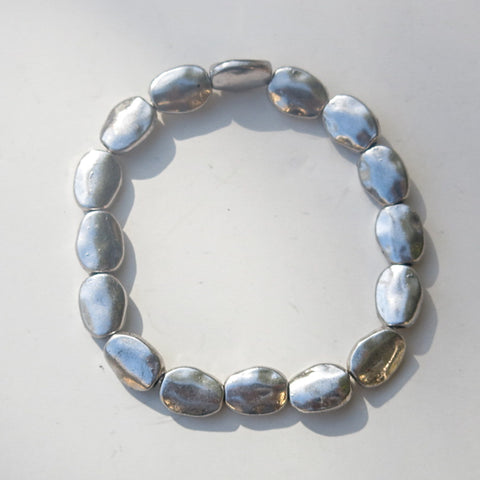 Stretchy Bracelet with Pewter Beads, Puffed Ovals
