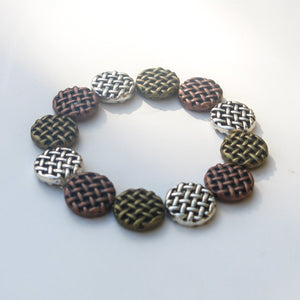 Stretchy Bracelet with Pewter Beads in 3 Colors