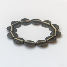Load image into Gallery viewer, Stretchy Bracelet with Pewter Beads in Antique Brass, African Rope-Style