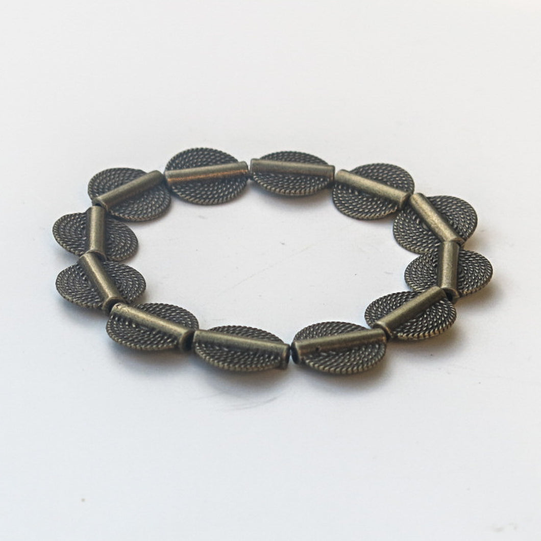 Stretchy Bracelet with Pewter Beads in Antique Brass, African Rope-Style