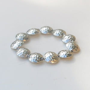 Stretchy Bracelet with Pewter Beads, Textured Coins
