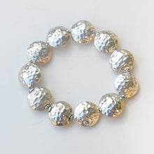 Load image into Gallery viewer, Stretchy Bracelet with Pewter Beads, Textured Coins