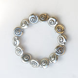 Stretchy Bracelet with Pewter Beads, Silvertone Shells