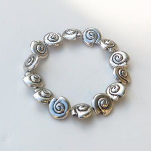 Stretchy Bracelet with Pewter Beads, Silver Shells