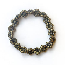 Load image into Gallery viewer, Stretchy Bracelet with Pewter Beads, Flowers