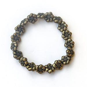 Stretchy Bracelet with Pewter Beads, Flowers