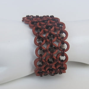 Chain Maille Bracelet in Japanese 8-in-2 Weave with Rubber & Metal Rings
