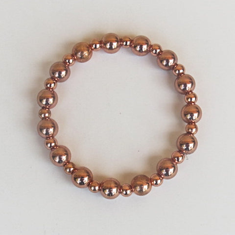 Stretchy Bracelet with Round Copper Beads