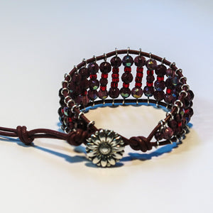 Leather Railroad Track Bracelet with Button Clasp, in Red & Burgundy